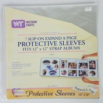 NIP Westrim Crafts 5 pk clear 12x12 expand a page strap album protective sleeves