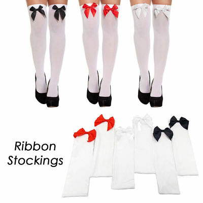 Ladies Oktoberfest White Thigh High Stockings with Bow Tights Beer Maid Wench