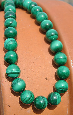 "Top Quality Genuine  Deep Green Malachite 12mm RARE Large Size Round Bead 7""!"