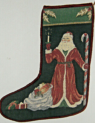 "Vintage 18"" Tapestry Old-Time Santa Christmas Stocking Velvet Back HAS A HOLE"