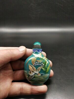 CH0999 China Glass Hand Painted Pastel bird sporting Snuff bottle Yongzheng mark