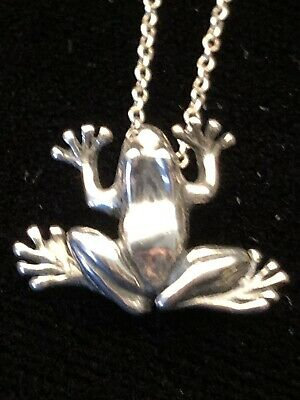 """Tiffany & Co Sterling Silver Chain 16"""" And Sterling Frog Pendant"""