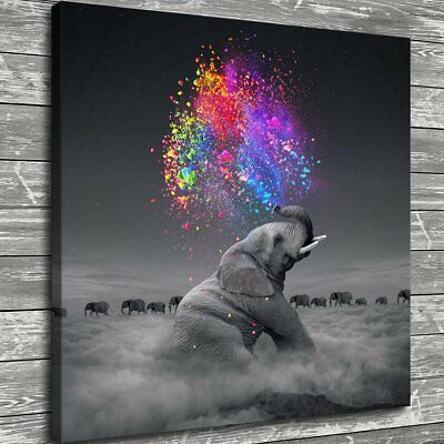 "12""x12"" Elephant Spray Color Painting HD Print Canvas Home Decor Room Wall Art"