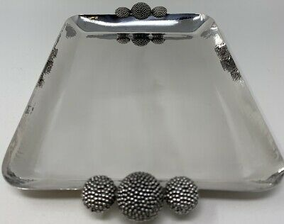 Buccellati Italian Sterling Silver Tray Hand Hammered w Applied Handles Artistic