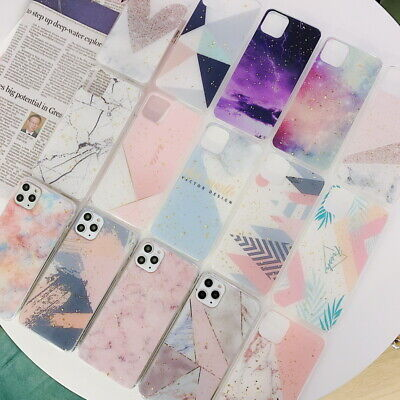 For iPhone 11 Pro Max XS XR X 7 8 Plus Marble Paint Glitter Foil Soft Case Cover