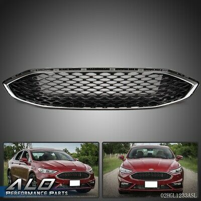 Gloss Black w/ Chrome Front Bumper Honeycomb Mesh Grill For Ford Fusion 2017+