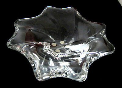 "Vintage Baccarat Glass Free Form Bowl Candy Dish  Signed 6 1/2"" France"