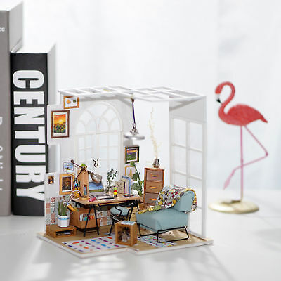 ROBOTIME Wooden Miniature Dollhouse Kit with Furniture Birthday Gift Girlfriend