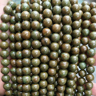 "Natural Rare Green Picasso Jasper Gemstone Round Loose Beads 15""Strand 4mm-12mm"