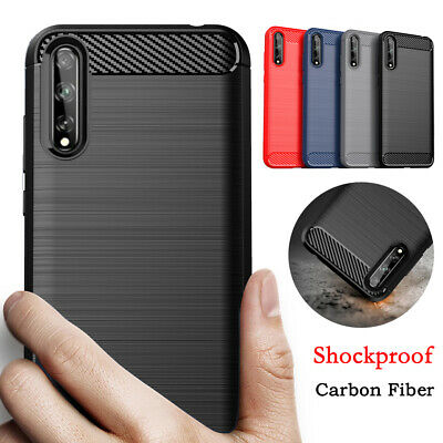 For Huawei P Smart 2020 P30 P20 Lite Shockproof Silicone Carbon Fiber Case Cover