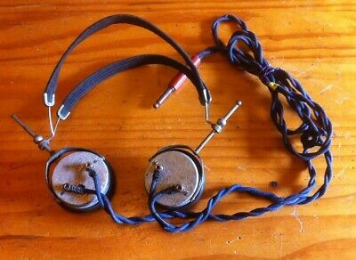 Pair of Vintage Headphones suitable for early Valve Radio or Crystal set WORKING