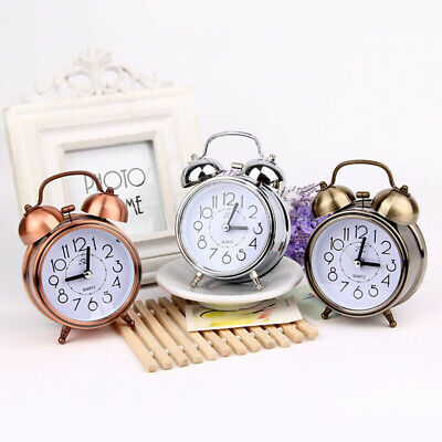 Retro Loud Double Metal Bell Mechanical Quartz Snooze Night Light Alarm Clock UK