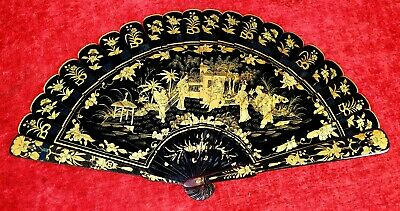 Canton Fan In Lacquered And Golden Wood. China. Xix Century.