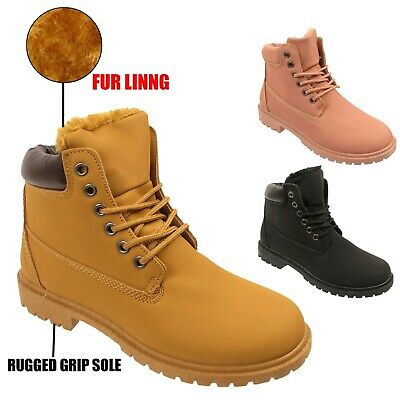 Womens Ladies Fur Lined Lace Up Worker Military Combat Casual Ankle Boots Size