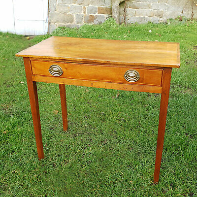George III Oak & Walnut Inlaid Console Side Hall Table with Drawer C1800
