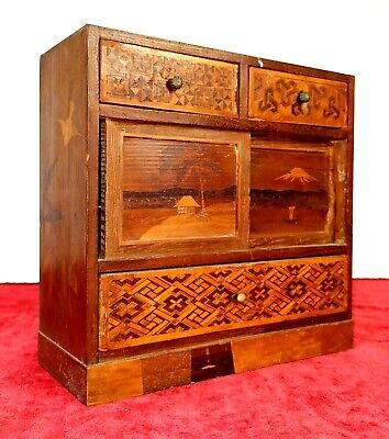 Yosegi Miniature Chest. Decorated Wood In Marquettry. Japan. Xix Century