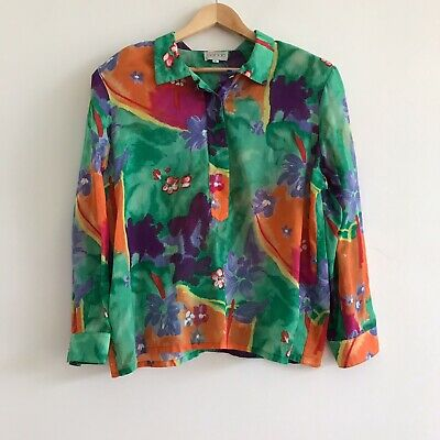 vintage 1980s 80s colourful print geometric abstract shirt blouse top cotton