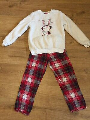 Girls Kids Fluffy Soft Warm Winter Pyjamas Age Size 11 - 12 Christmas Fleece Top