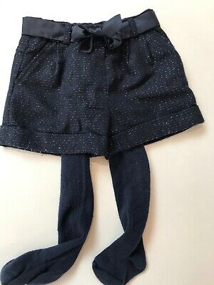 Girls Navy Winter Shorts And Tights. Perfect For Christmas Parties. 12-18m
