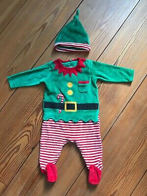 Next Baby Elf Costume Outfit Christmas Outfit and Hat 0-3 Months Boys/Girls
