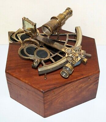"""Antique Collectible Nautical Brass Working German Marine 8"""" Sextant Wooden Box"""