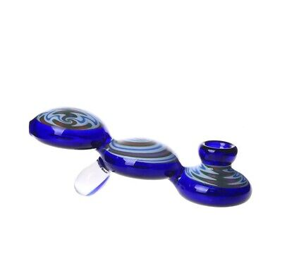 """5.5"""" Blue Red Water Bubbler Pipe Bong Tobacco Smoking Small Glass Hand Herb Bowl"""
