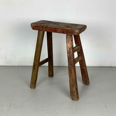 Vintage Rustic Antique Wooden Stool Milking Large Waxed W129