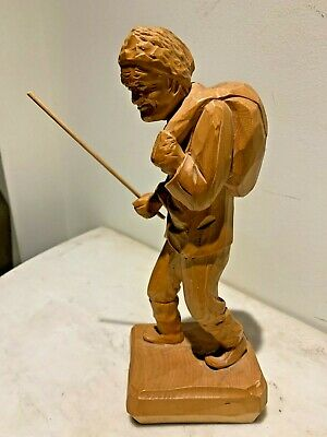 Vintage Wood Sculpture of an Old Man Backwoods man,Folk Art,Paul E. Caron signed
