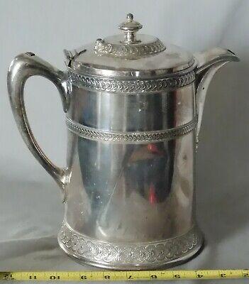Antique Meridan Britannia Company water pitcher c. 1870 silver plated embossed