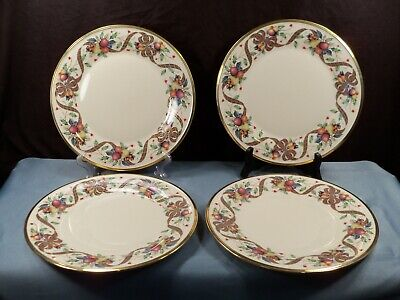 """Set of 4 Lenox HOLIDAY TARTAN Dimension Collection Dinner Plates 10 3/4"""" NWT"""