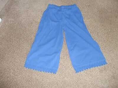 Girls Culottes Age 9-10 By M&S Cotton Blue Perfect Quality