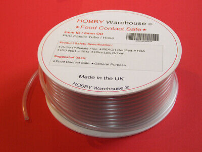 3mm ID PVC Plastic Tube Hose Food Contact Safe Flexible Clear Pipe – All Lengths