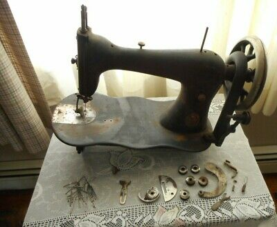 Antique 1878 Singer Fiddle Base Treadle Sewing Machine Head W/ Extras #5507524