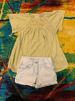 Girls Stripy Light Blue Denim Shorts And Lime Green Tunic  By Next 5 Years