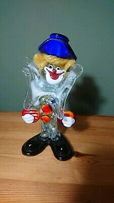 "Vintage Italian Murano Glass 7"" Clown Figurine Ornament Large Clear Bow Tie"