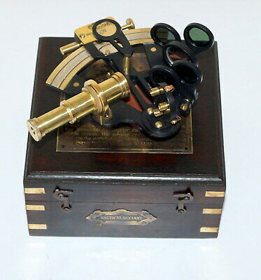 """Antique Collectible Nautical Brass Working German Marine 4"""" Sextant wooden box"""