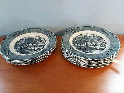 "Currier and Ives, Royal China, The Old Grist Mill 10""  Blue & White Dinner Plate"