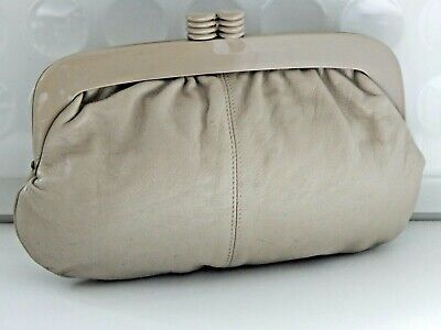 Vintage Italian Quality Leather Deco Style Clutch Bag 1970s - 1980s Original