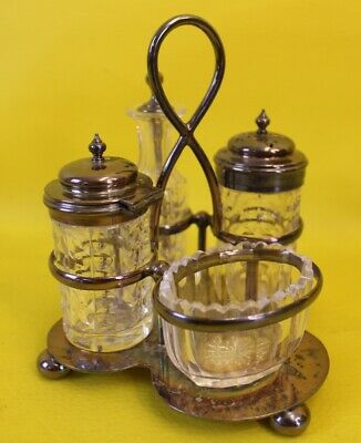 Silver Plated Salt Pepper Condiment Set Vintage ##MHA 50 MW