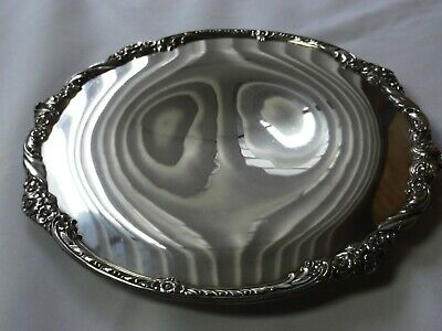 VTG 1847 ROGERS BROS heritage serving tray/ silver plate #9421 roses