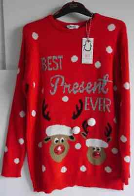 Blooming Marvellous Christmas Jumper Size S Red Best Present Ever Maternity *New