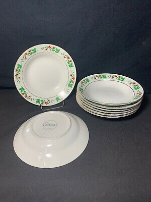 "Gibson Housewares Christmas Charm Holly Berry Rimmed Soup Bowls 8"" Set Of 8"