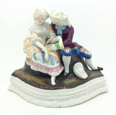 "Antique Victorian Staffordshire Figure Inkwell Courting Couple Ink Stand 5"" 13cm"