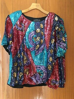 Vintage Joseph Le Bon Womens 2X Colorful Pink Turquoise Sequin Silk Top Blouse