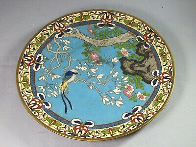 "Antique Japanese Cloisonne 9.5"" Plate - Meiji Period - Bird In Blossom Tree"