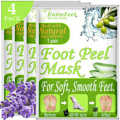 Dr. Entre's Exfoliating Foot Peel Masks 4 Pack Baby Soft Feet Remove Calluses