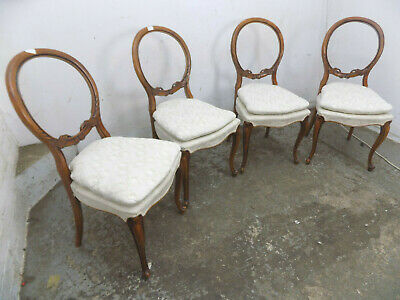 four,antique,victorian,walnut,ballon back,dining chairs,cabriole legs,carved,