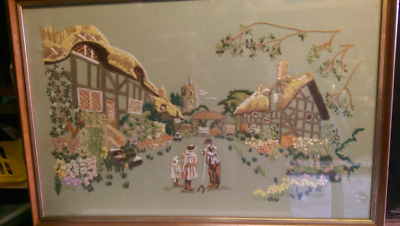 Stunning Hand made Embroidered farm yard scene