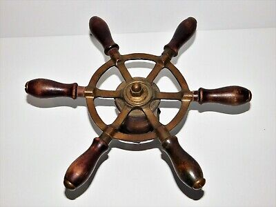 Vintage Brass And Wood Ship's Wheel Boat Nautical