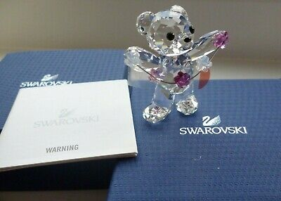New Retired Swarovski Lovelots Kris Bear Flowers For You Box and certificate